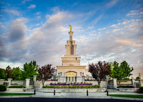 Columbia River Temple - Sunrise from the Front by Scott Jarvie