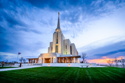 Rexburg Temple - Sunset from the Front by Scott Jarvie