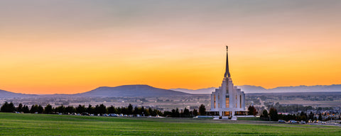 Rexburg Temple - Sunset Panorama by Scott Jarvie