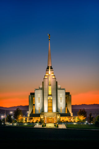 Rexburg Temple - Orange Sunset by Scott Jarvie