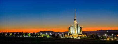 Rexburg Temple - Red Twilight by Scott Jarvie