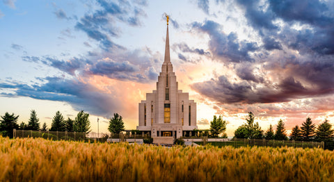 Rexburg Temple - Fiery Sunset by Scott Jarvie