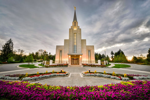 Vancouver Temple - Flowered Path by Scott Jarvie