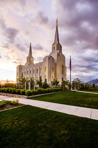 Brigham City Temple -Sunset and Flag