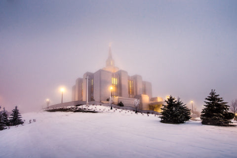 Calgary Temple - Morning Fog by Scott Jarvie