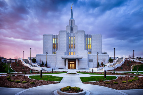 Calgary Temple - Purple Twilight by Scott Jarvie