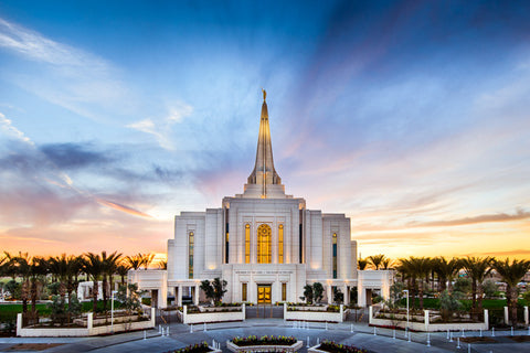 Gilbert Arizona Temple- Bright Sunset 11x14 gallery wrap