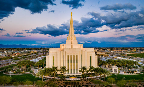 Gilbert Arizona Temple - Evening Aerial by Scott Jarvie