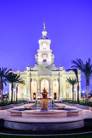 Tijuana Temple - Fountains in Blue by Scott Jarvie
