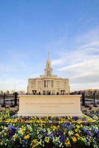 Payson Temple - Signs and Flowers by Scott Jarvie