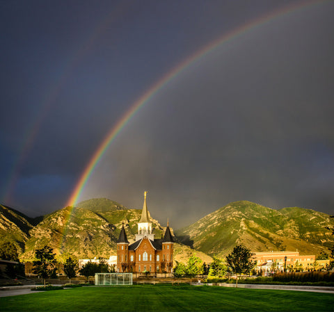 Provo City Center Temple - Double Rainbow by Scott Jarvie