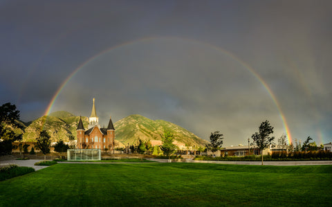 Provo City Center Temple - Full Rainbow by Scott Jarvie