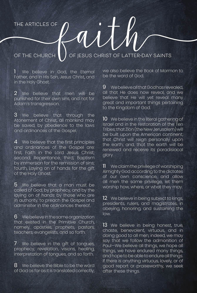 Articles of Faith Chalk 12x18 Repositionable Poster