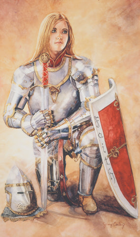 Young Girl wearing the armor of God.