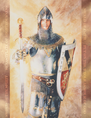Young man wearing the armor of God.