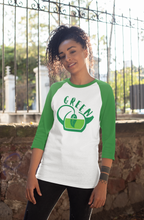 Load image into Gallery viewer, GREEN COLOR CHAKRA 3/4 sleeve raglan shirt