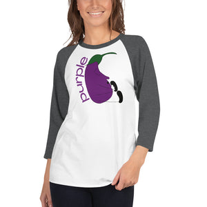 PURPLE COLOR CHAKRA 3/4 sleeve raglan shirt