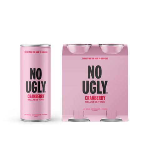No Ugly 8.45 fl oz Cranberry Wellness Tonic (4 x 8.45 fl oz can) Free Shipping
