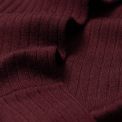 Gustav - Knee-High Merino Socks - Burgundy