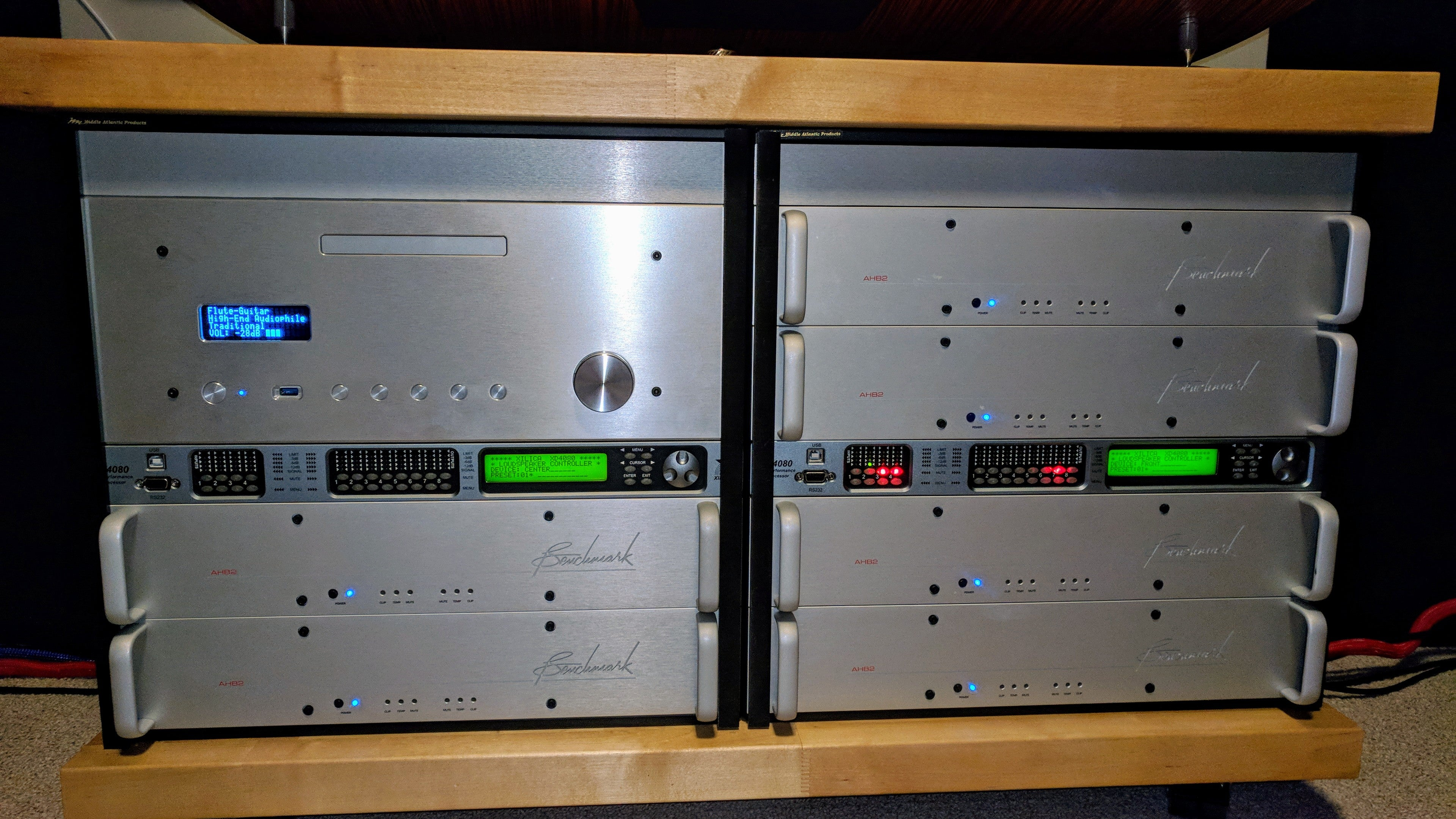Home Theater Rack with 6 Benchmark AHB2 Power Amplifiers