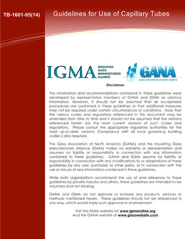 IGMA/GANA Guidelines for Use of Capillary/Breather Tubes