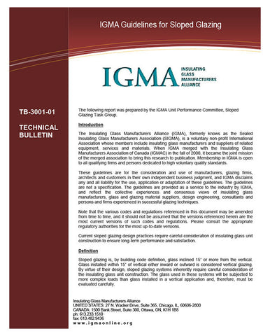 IGMA Guidelines for Sloped Glazing