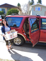 Natasha off to deliver boxes, Canadian pregnancy & postpartum subscription boxes, Free shipping in Canada