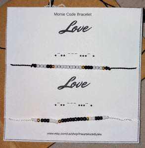Heart Made by Me morse code bracelets, anniversary gift, birthday gift, couples gift