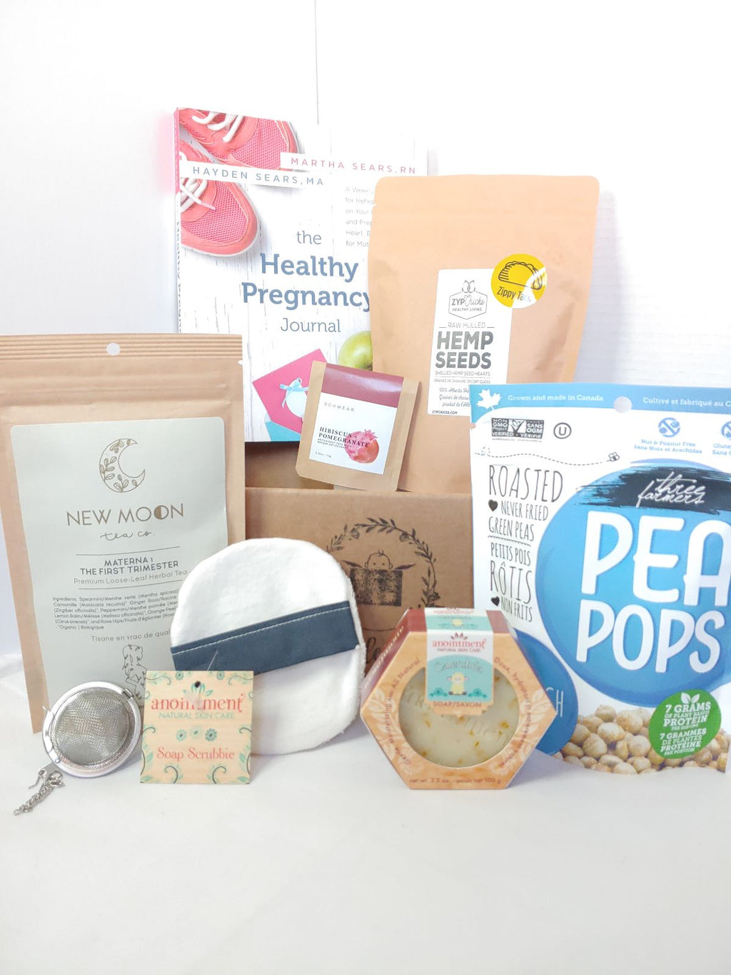 1st trimester box, pregnancy gift basket with Bundle of Joy Box, includes healthy snacks, self care products, pregnancy tea, etc