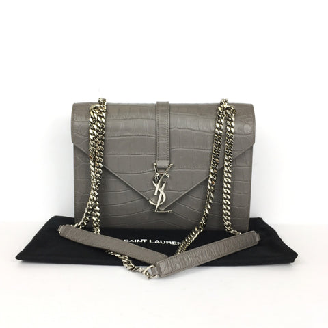 YSL CROC MATELASSE ENVELOPE CHAIN BAG