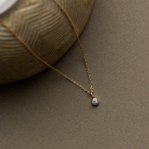 claire charm pendant solid gold white sapphire bezel set with cable diamond cut chain