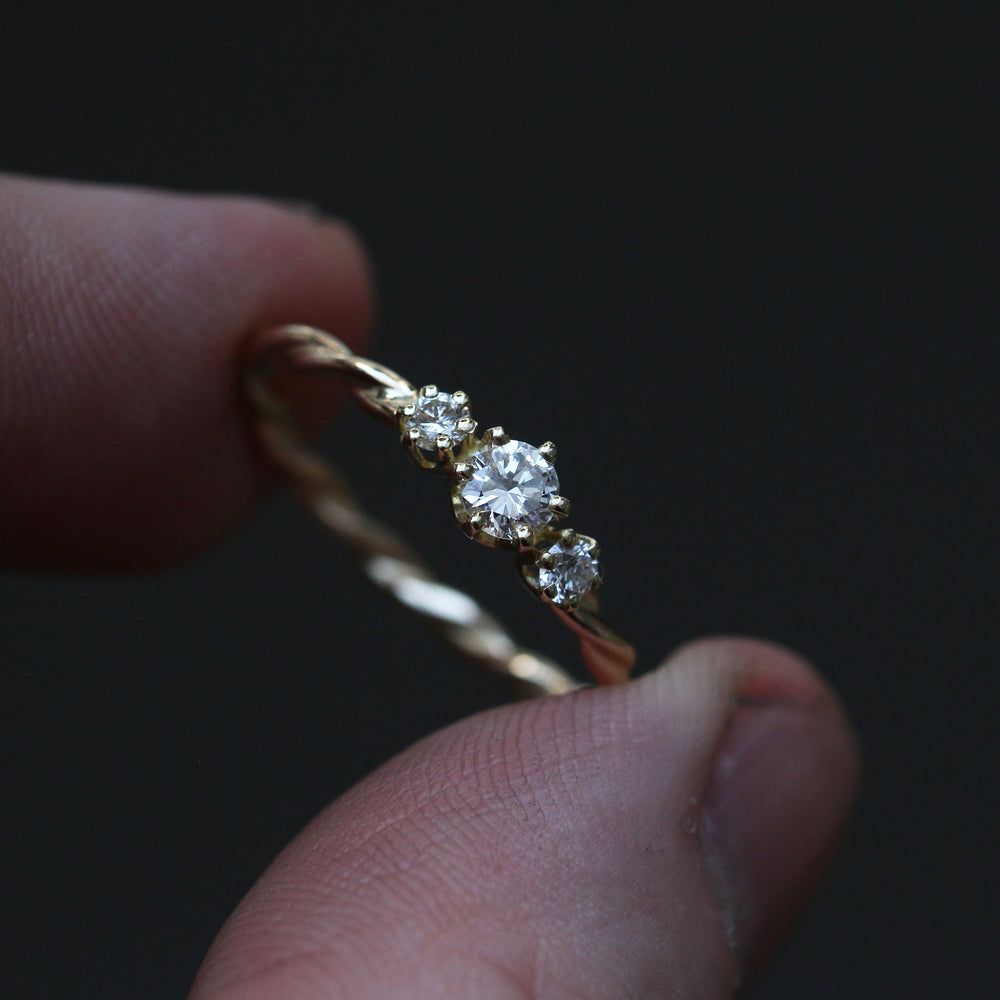Swirled Diamond Ring - 14k - Made to Order