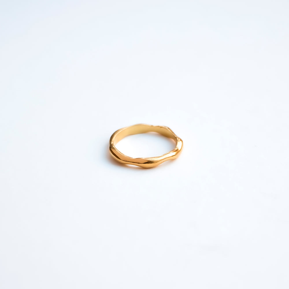 Sylvia ring gold plated silver and sterling silver organic shaped simple ring