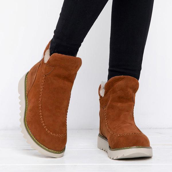 Jeschic  Fur Lining Ankle Snow Boots