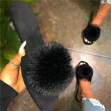 Jeschic Slip-On Flat With Flip Flop Pompon Slippers