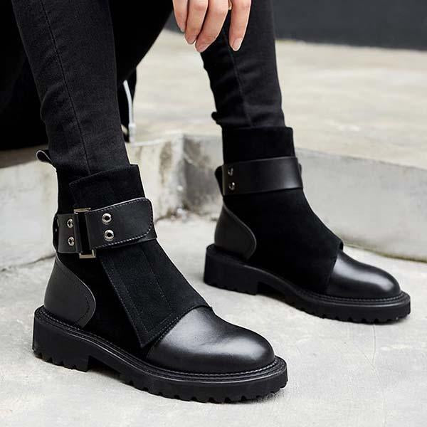 Jeschic Fashion Classic Adjustable Buckle Boots