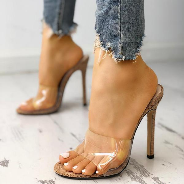 Jeschic Fashion Transparent High Heel Sandals