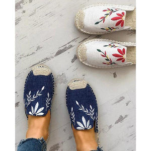 Jeschic Fashion Embroidered Espadrille Flat Slippers
