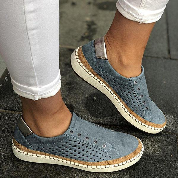 Jeschic Women Casual Slip On Hollow-Out Sneakers