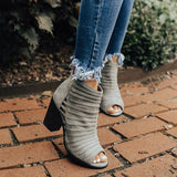 Jeschic Peep Toe Hollow Out Chunky Heel Boots