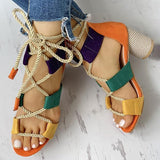 Jeschic Colourblock Lace-up Chunky Heels Open Toe Sandals