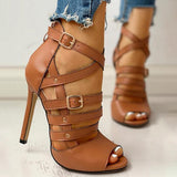 Jeschic Solid Hollow Out Ankle Strap Thin Heeled Sandals