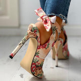Jeschic Floral Print Peep Toe Cut Out Thin Heeled Sandals