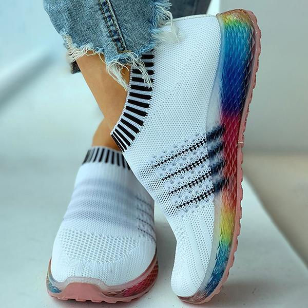 Jeschic Colored Bottom Striped Breathable Casual Sneakers