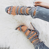 Jeschic Glittering Bandage Lace-up Thin Heels