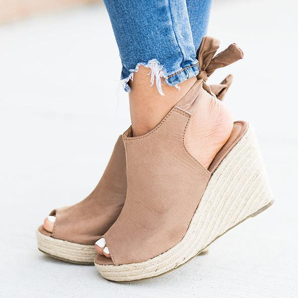 Jeschic Women Back-Knot Wedges Sandals