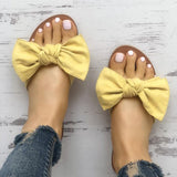 Jeschic Casual Bowknot Peep Toe Flat Slippers