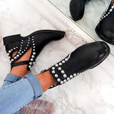 Jeschic Daily Black Adjustable Buckle Rivet Boots