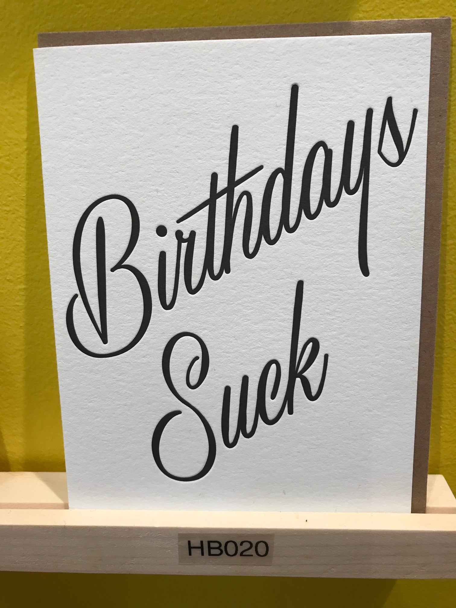 Wishbone Letterpress Birthday Suck