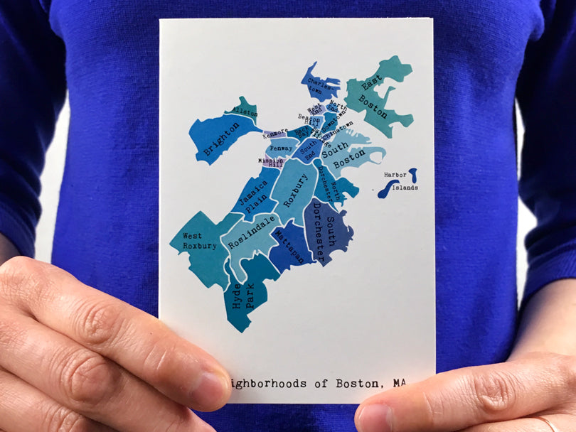 Map of Boston Note Card | April May for Smudge Ink
